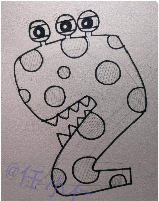"""儿童画图文教程:手把手教你画卡通数字""""2""""图片"""