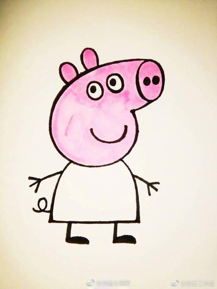 小猪佩奇简笔画教程,简单又可爱,码住学起来图片