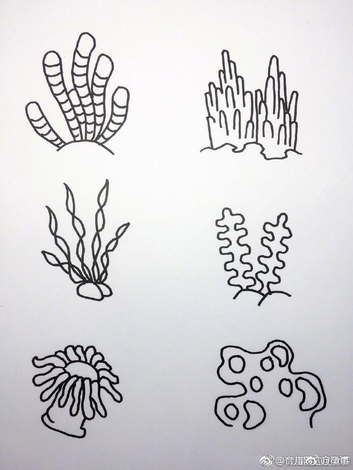 海底世界大海小鱼珊瑚简笔画 留着画给宝宝看