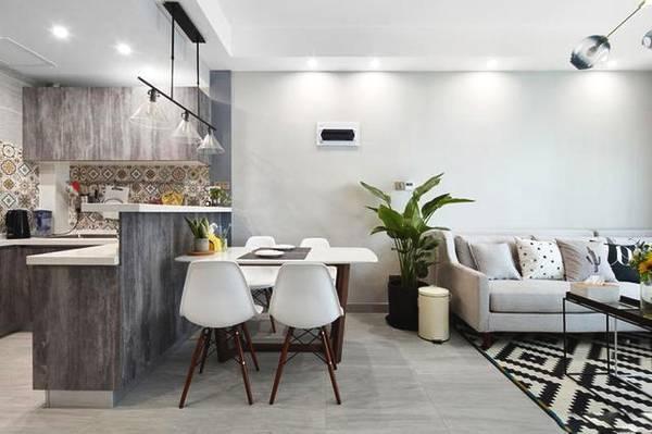 88㎡客厅餐厅和厨房一体式化设计,简单凸显品味图片