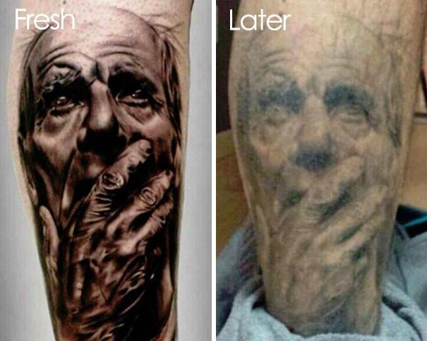 纹在身上的纹身, 十几年后会成什么模样?图片