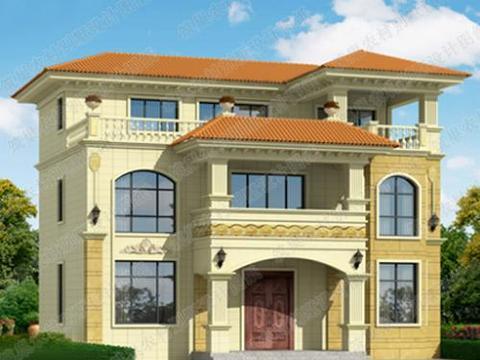二层半三层30万12×8米2厅7卧带凉亭私家独栋别墅设计图图片