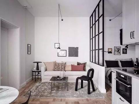 33平北欧风单身公寓,客厅,卧室的半隔断设计很是惊艳!