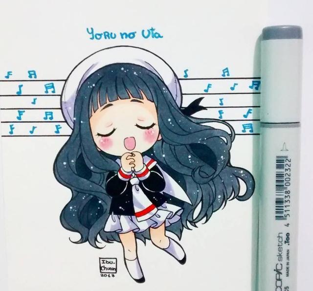 马克笔手绘q版动漫少女,应该是吃可爱长大的!