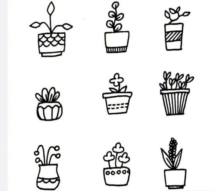 关于小花小草的简笔画~闲暇时候画一画,也可以教你家的小朋友