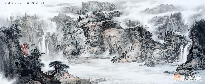 巨型横幅国画山水大�_赵洪霞最新力作八尺横幅国画山水画新品《河山锦绣》