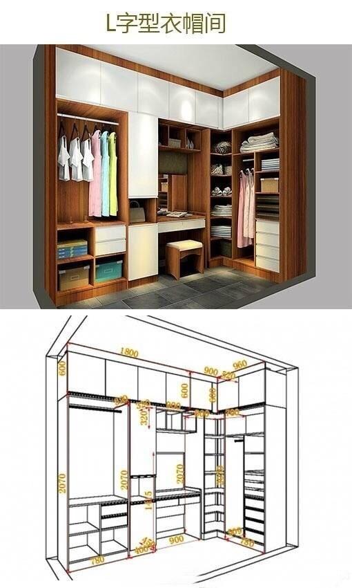 一字型,l型衣柜设计方案,尺寸格局都有了,超实用!