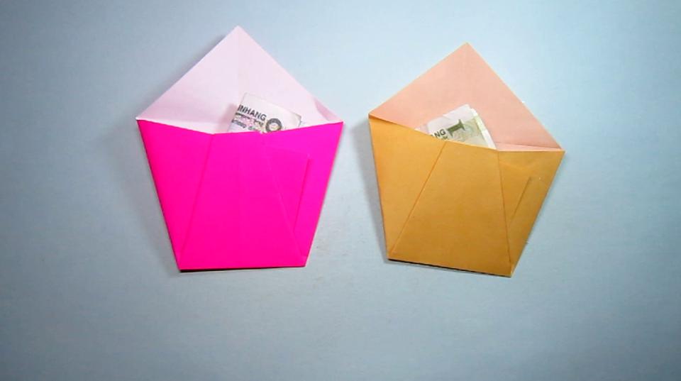 简单的折纸小口袋钱包,2分钟几个步骤就能完成小钱包折纸