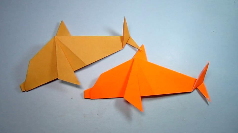 简单的折纸小海豚,一张纸就能折出可爱的小动物海豚