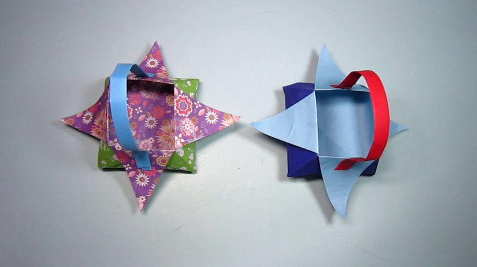 儿童手工折纸花篮,3分钟学会小花篮的折法,简单的折纸
