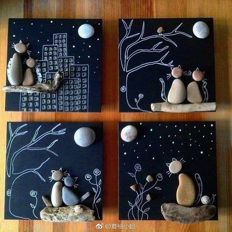 一组超有爱的石头画,一起来给小石头安个家~ via 夏柚小姐图片