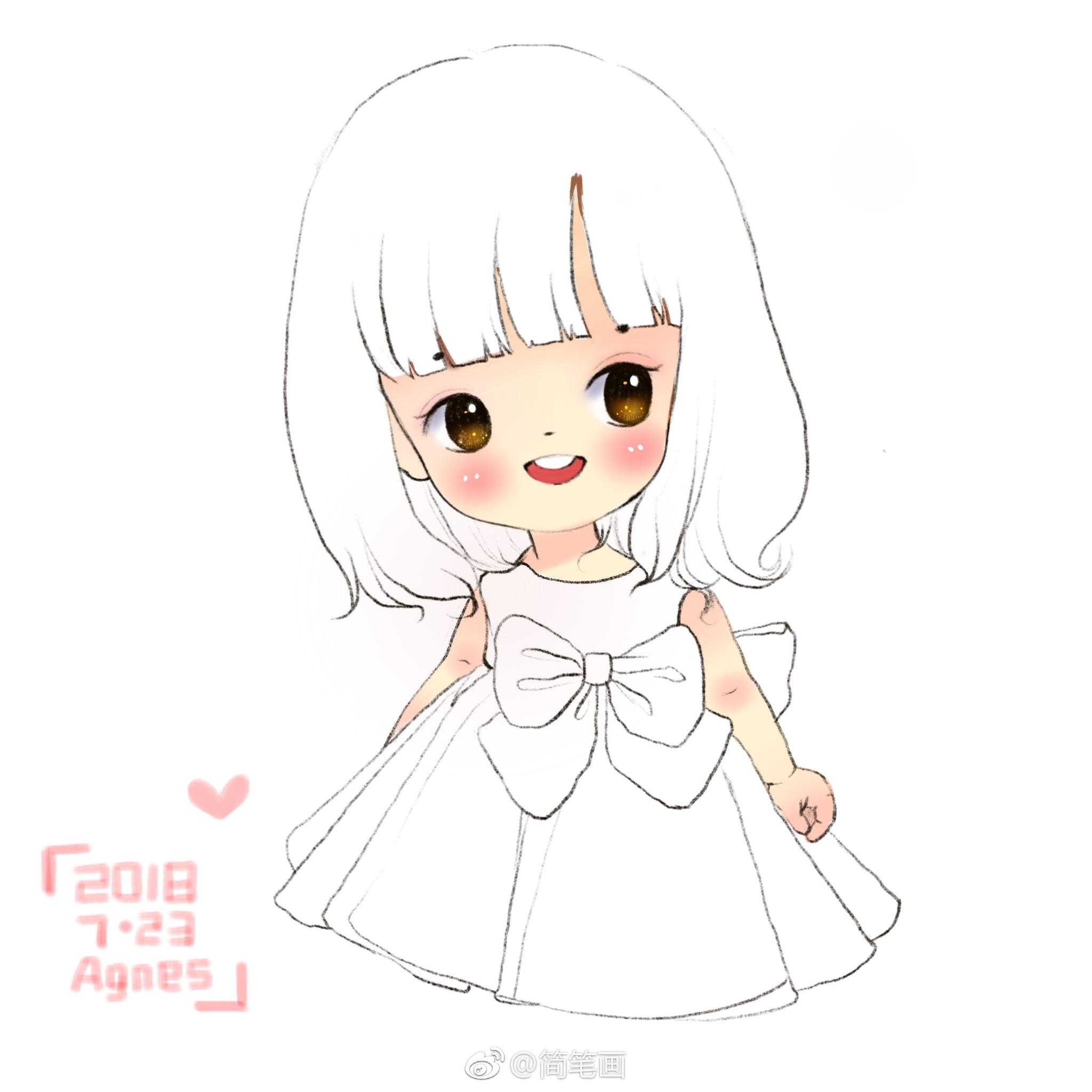 超可爱的简笔画小女孩(投稿:@土豆奇奇-agnes )