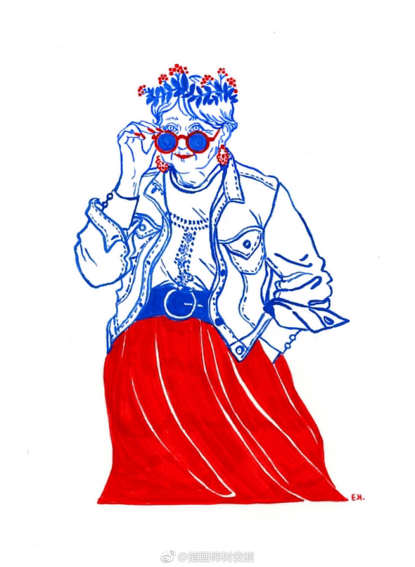 法国插图片EloseHeinzer红蓝色记忆插画v图片范丞丞画师漫画图片图片