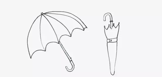 七彩雨伞简笔画,把好心情传给孩子们