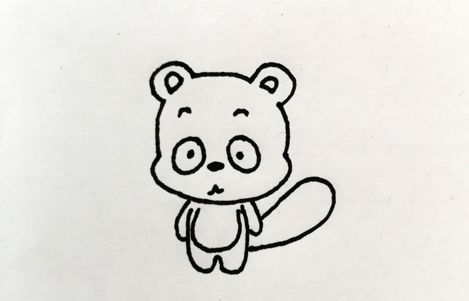 浣熊简笔画, 简单4步画出可爱小浣熊, 小朋友一看就会