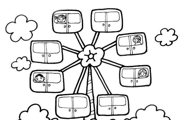 简笔画教程 小朋友一起来学画儿童画游乐场摩天轮!