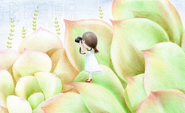 彩铅绘制美少女和多肉结合的唯美插画,将是一种什么样
