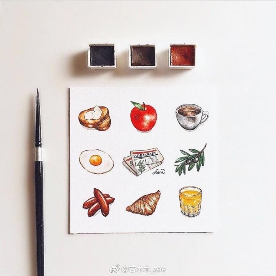 发一组食物手帐素材水彩手绘:haha_illustration 若木木_zoe