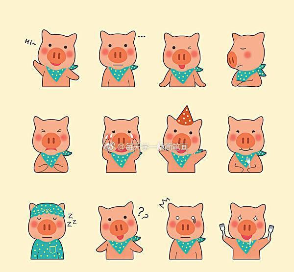 各种卡通动物简笔画表情包 学习临摹也是极佳 快收藏