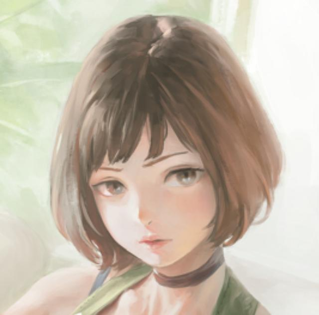 动漫手绘头像:棕色短发,楚楚动人的女生.