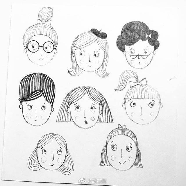 一支铅笔就能画的简笔画卡通头像(ins:katyhalfordillustration)