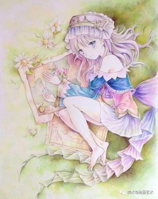 少女人物彩铅画动漫:彩色美教程卡通铅笔画绘左漫画向图片