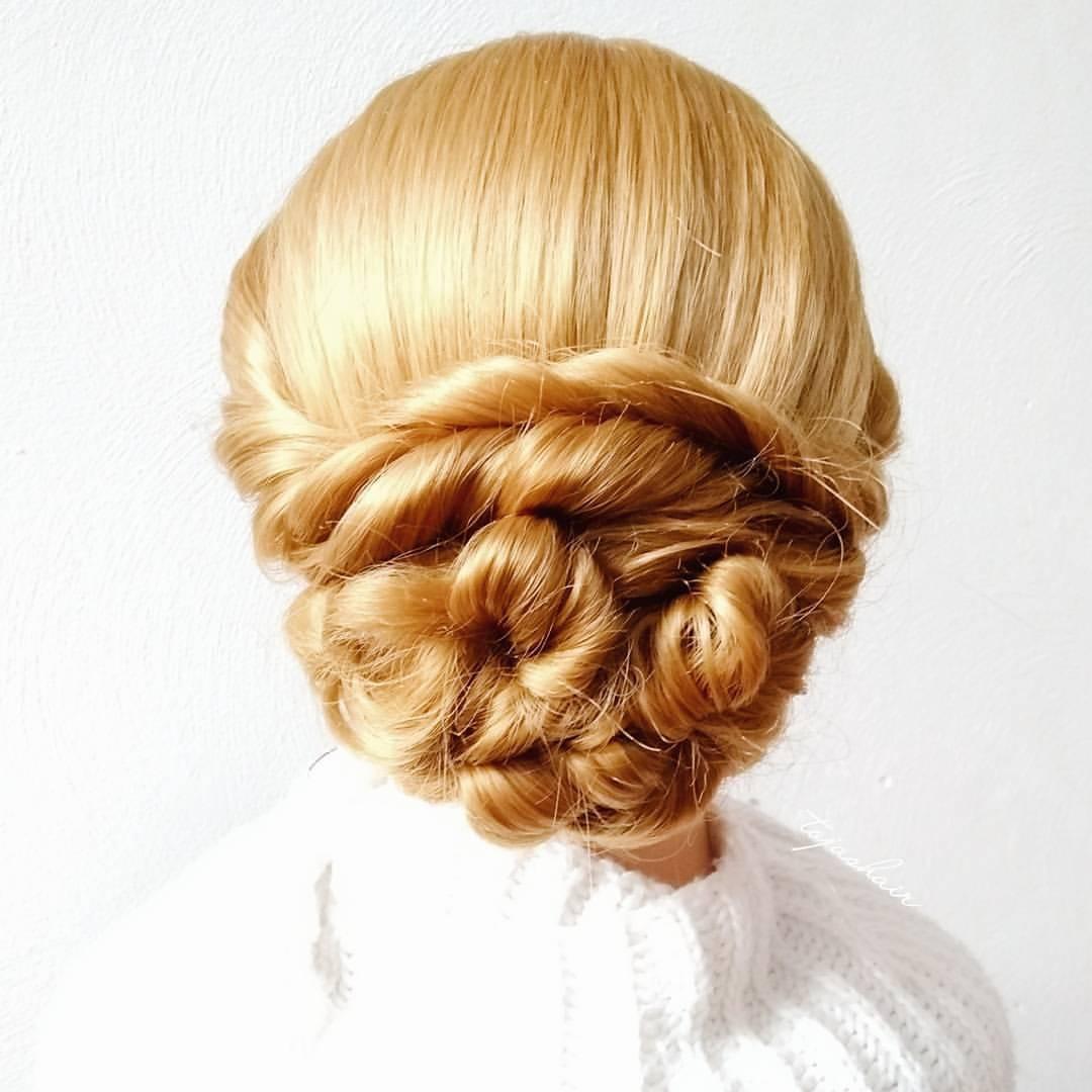 端庄又a发型的编发发型,秋天发型这样盘起来最斜刘海看图片
