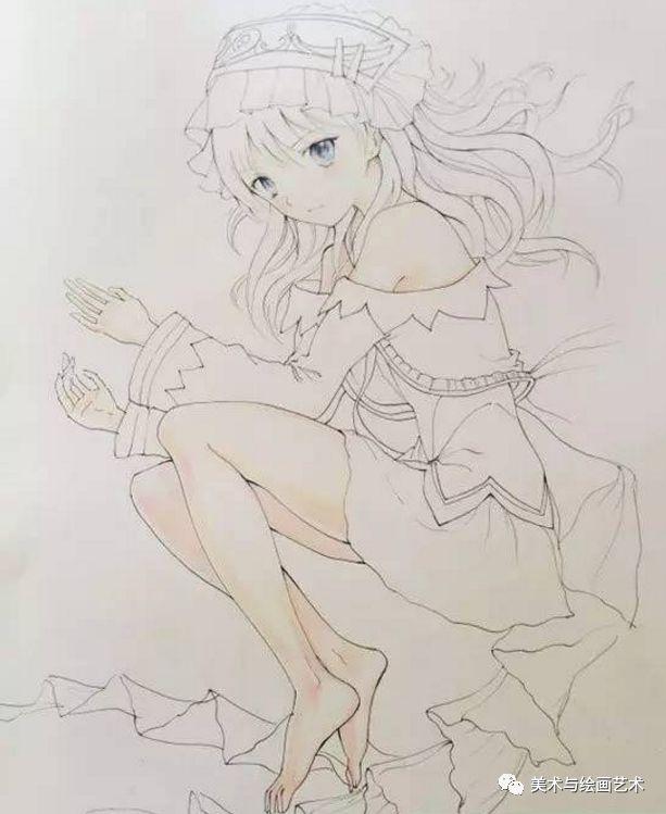 小屋教程彩铅画少女:动漫美彩色卡通铅笔画绘人物漫画马图片