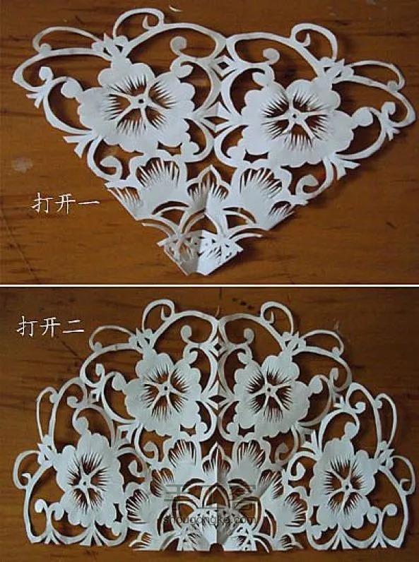 对称剪纸图案折叠剪纸的制作步骤!