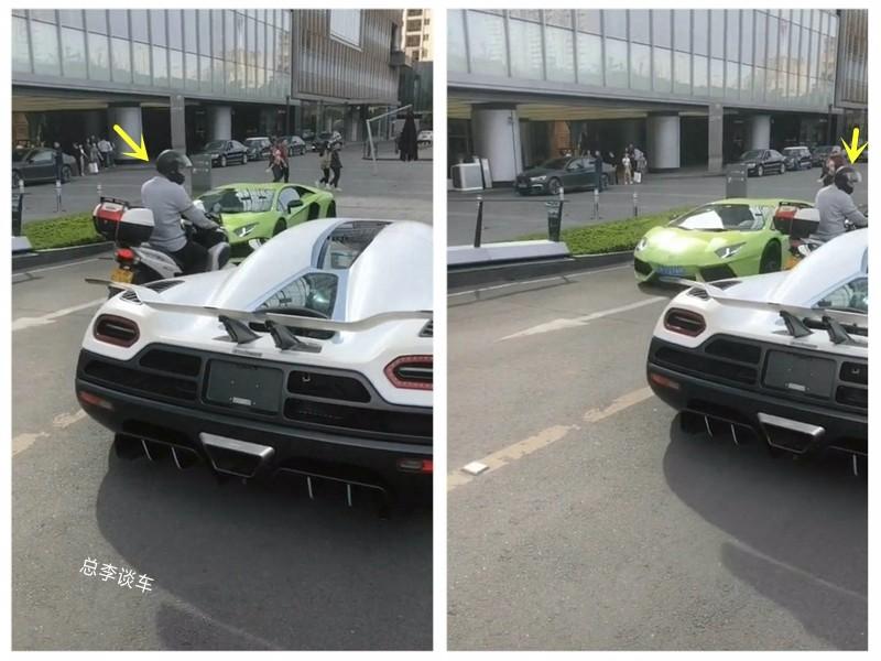 左边兰博基尼,右边柯尼塞格,摩托车强行超车,这驾驶员心真大