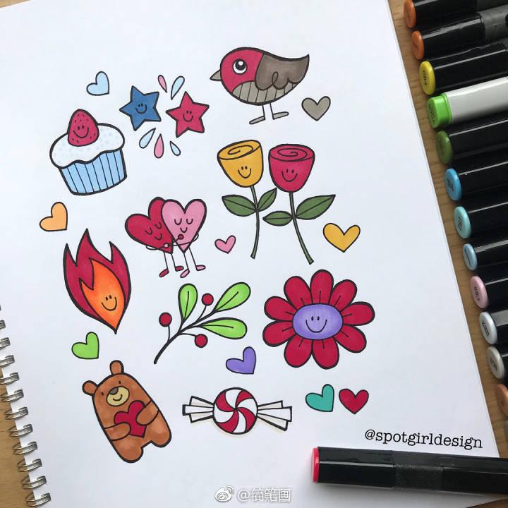 一大波简笔画手绘手帐素材(ins:spotgirldesign)