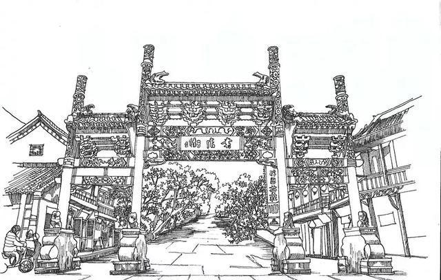 街道牌坊效果图手绘