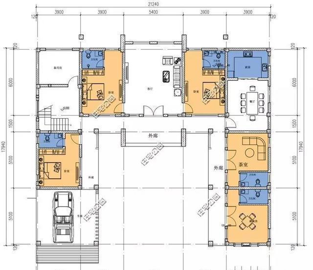 卧室全部套间设计,对于大合院来说还是很好的设计,不然上个厕所都要跑