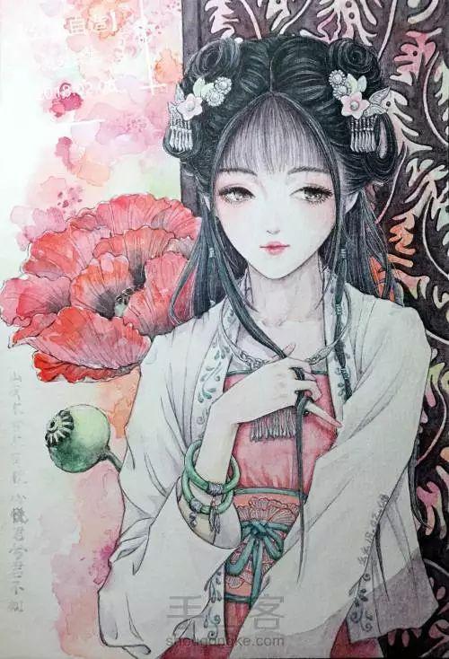 水彩教程 | 从线稿到上色教程图解,教你入门古风美女手绘