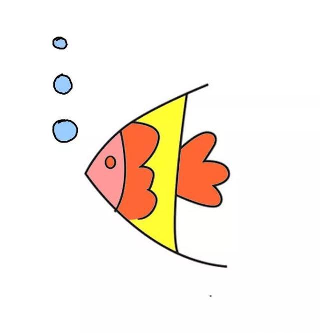 每天五分钟,来学简笔画:简单几笔画出生动可爱的小金鱼