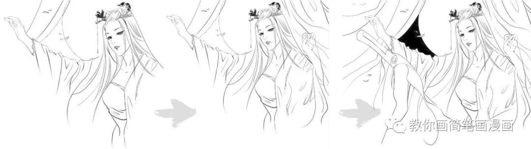 【绘画教程】如何绘画出古风女子黑长直的头发,零基础