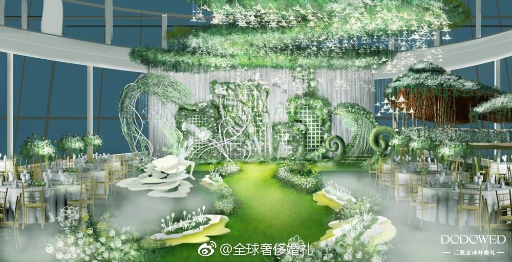 一组白绿色婚礼手绘效果图分享,来自@肆舍设计工作室-a1lure安藤