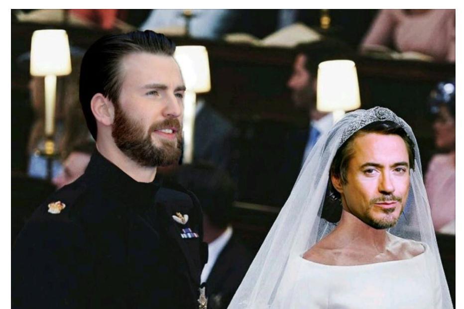 钢铁侠则身穿一身白色婚纱,表情一脸玩味地注视着大家.图片