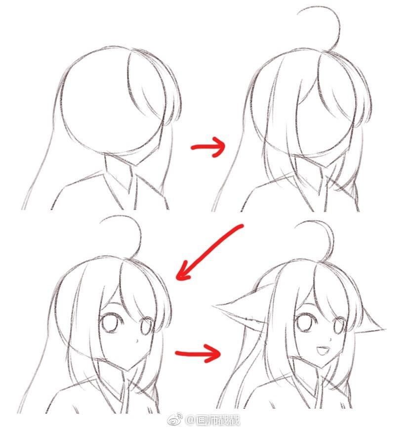 手把手教你画涂山苏苏,卡通人物画起来比例容易不准
