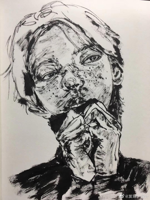 青年画家郑凯迪Zheng Kaidi《人物水墨小品》可售南京艺术学院版画