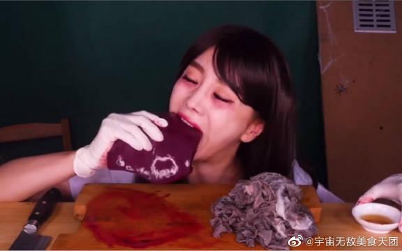 韩国吃播,高颜值素英姐姐,万圣节特辑,化身为幽灵学生
