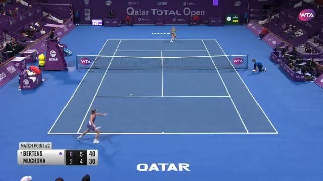 WTA多哈超五赛第二轮,7号种子贝尔滕斯以6-2/6-4完胜穆霍娃