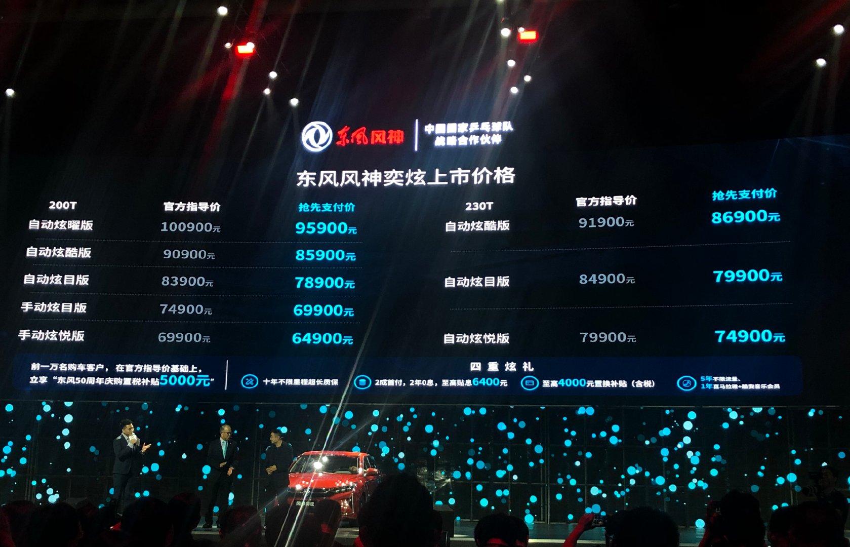 9月9日晚,东风风神旗下新款车型-奕炫正式上市