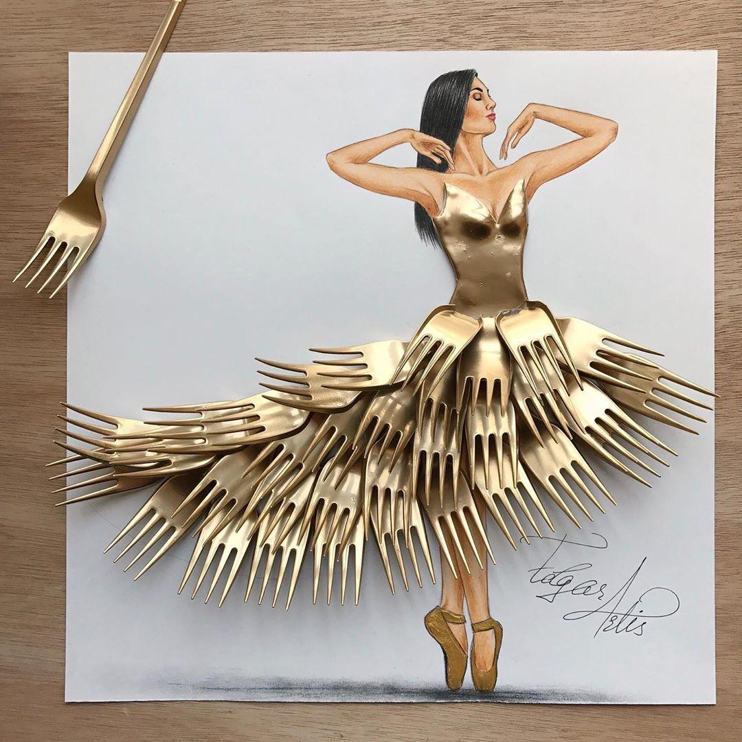 亚美尼亚艺术家EngaR ArtiS的服装设计作品 用生活中的各种材料立体拼
