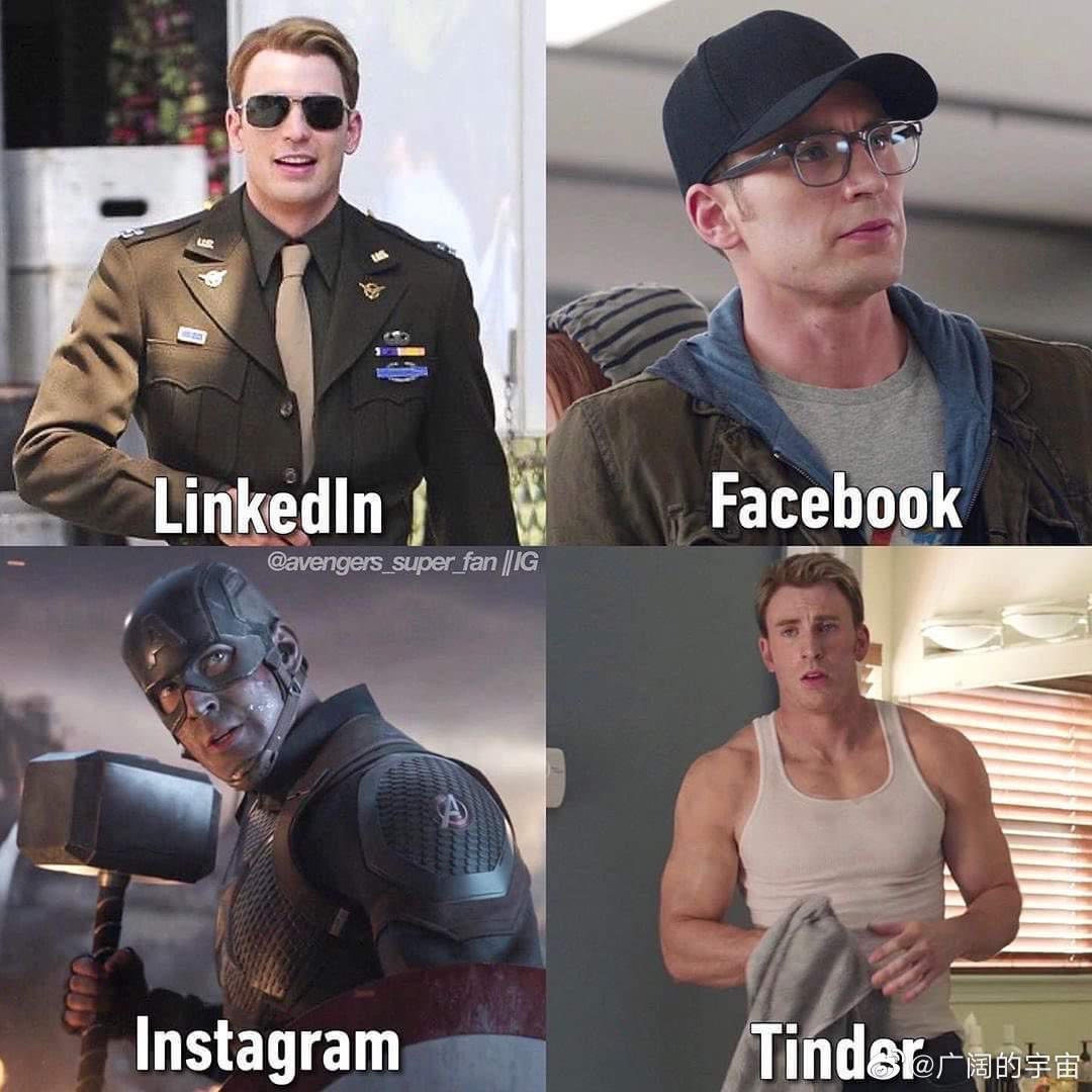 社交平台上的复联队员照片(LinkedIn(领英)职场社交软件、Tinder