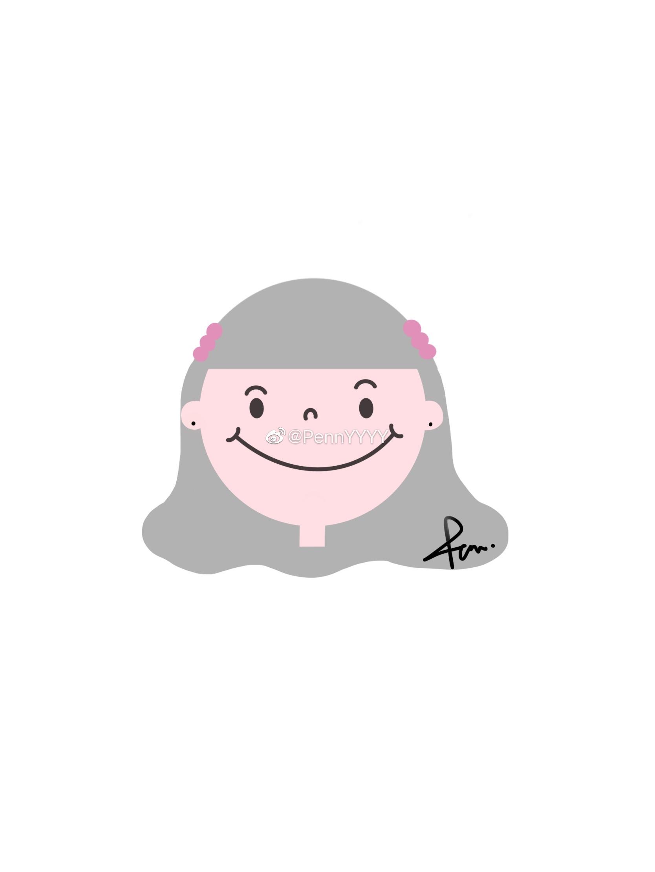 简笔画头像,可爱的圆脸女孩~投稿作者@pennyyyy