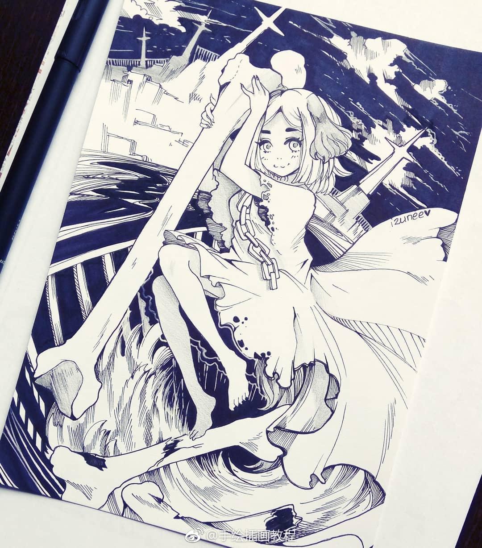 漂亮的针管笔手绘 ~ ins::.izunee(转) @ins插画
