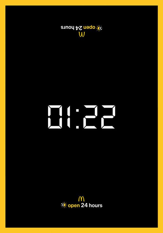麦当劳24小时营业宣传极简广告:时钟