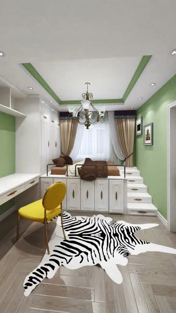 如果你的房间不够大,可以考虑做成错层,可以大大提高空间使用率!