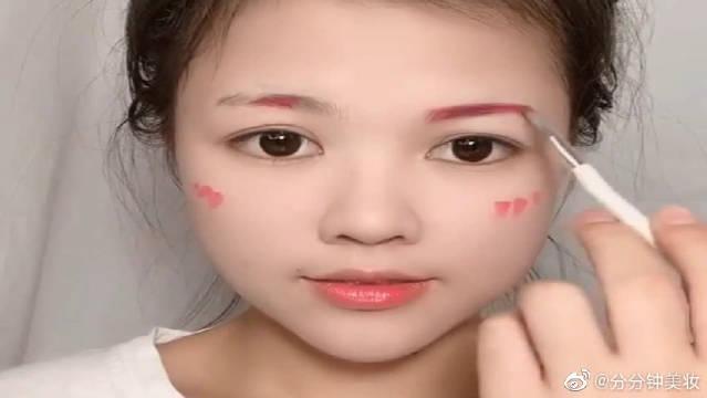 挑战一支粉色口红的试妆,全脸妆容一支口红全部搞定